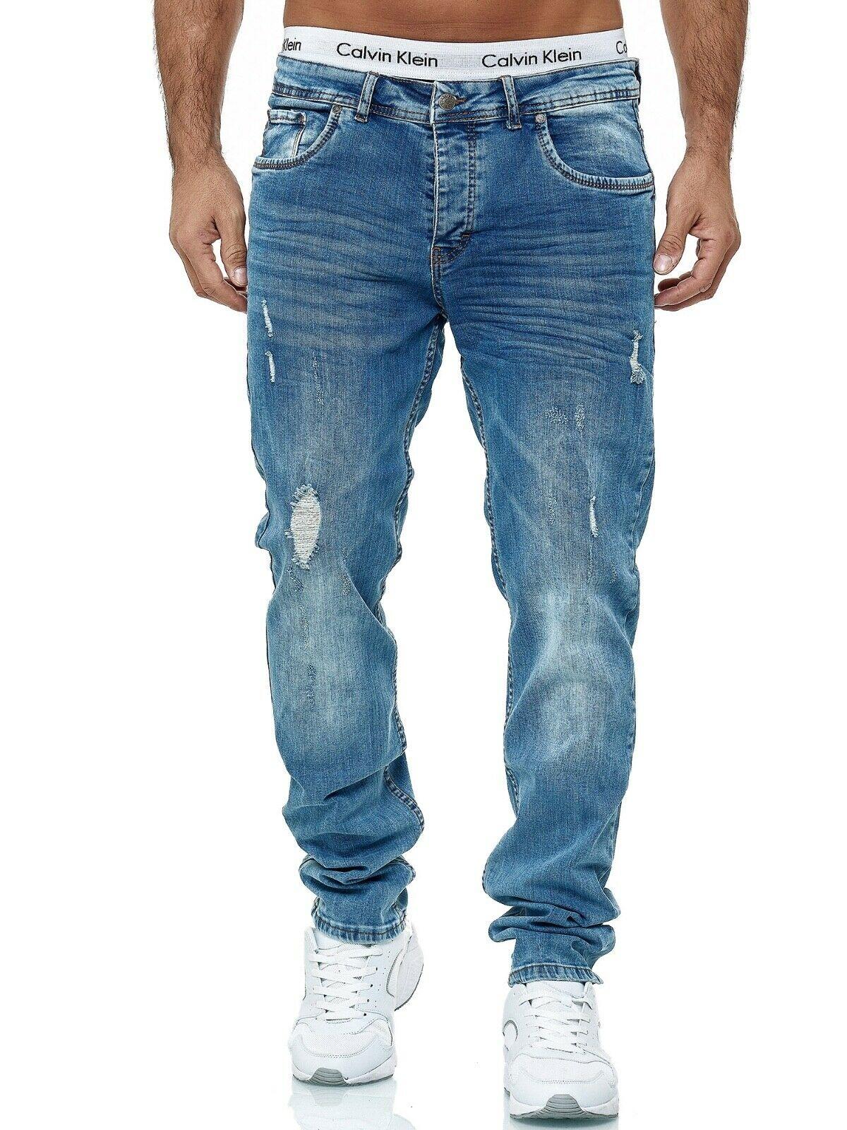 Herren-Jeanshosen-Stretch-Hose-Slim-fit-SKINNY-Jeans-Blau-Schwarz-Grau-Weiss Indexbild 77