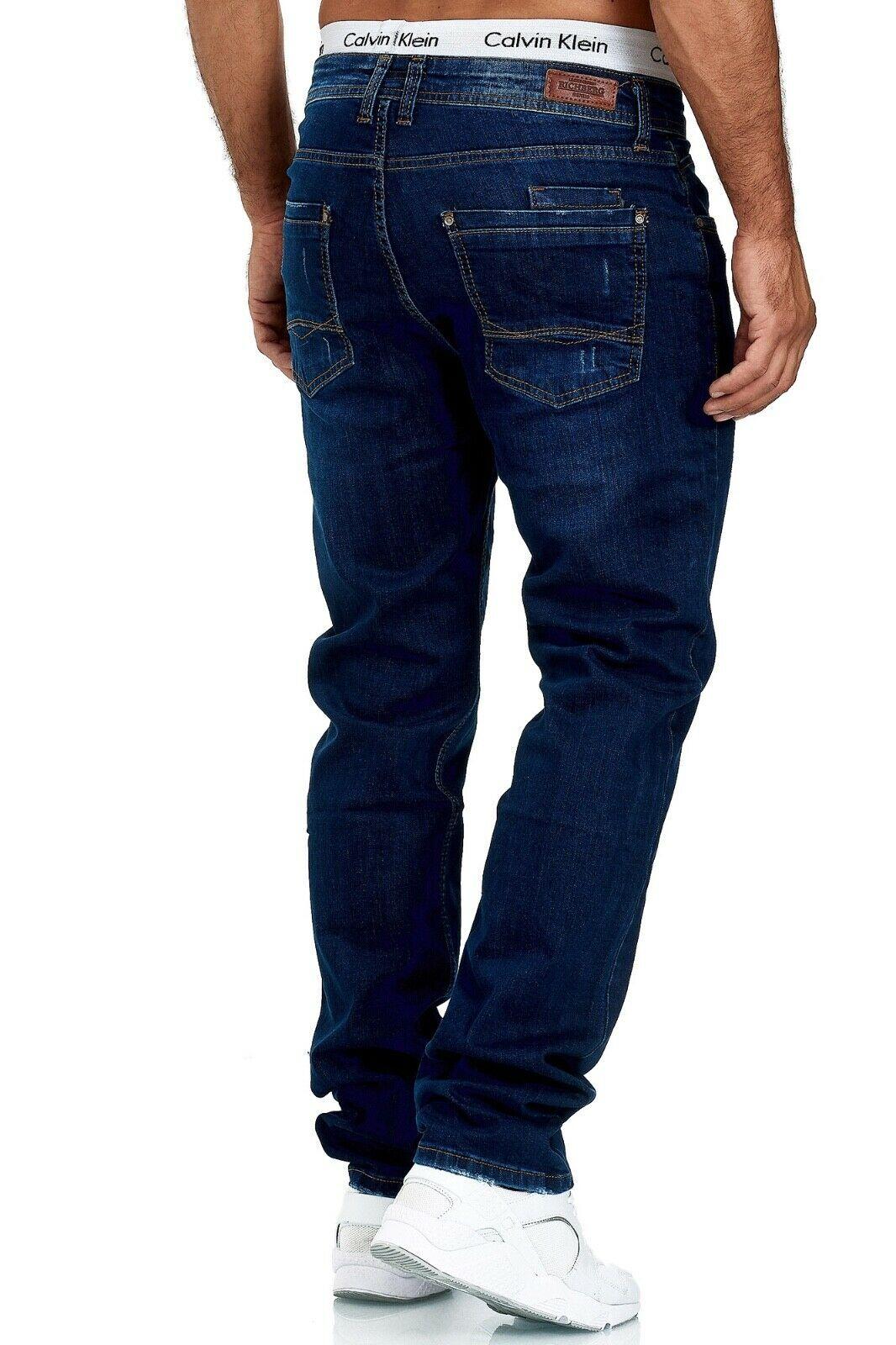 Herren-Jeans-Hose-Denim-KC-Black-Washed-Straight-Cut-Regular-Dicke-Naht-naehte Indexbild 69