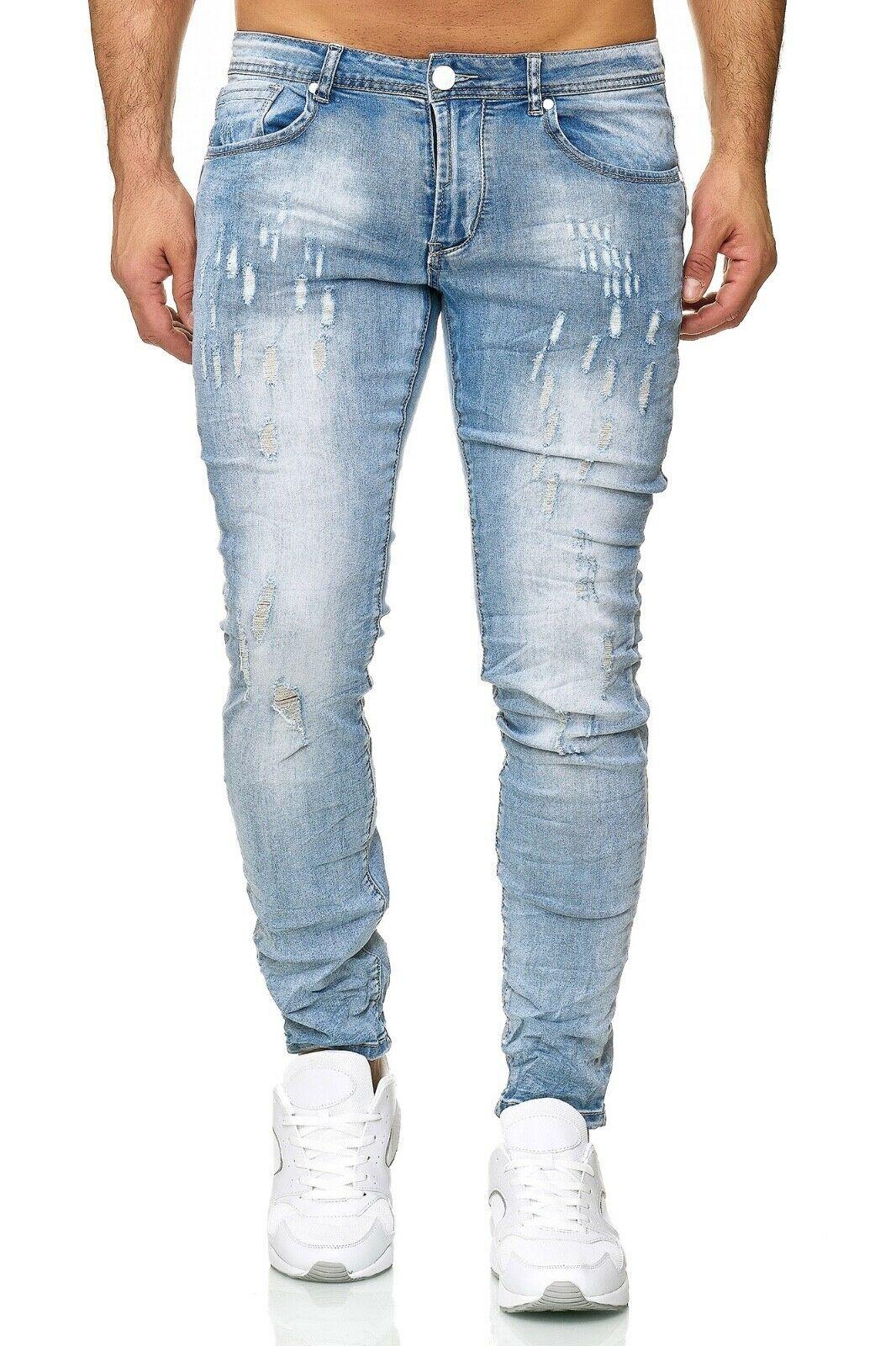 Herren-Jeanshosen-Stretch-Hose-Slim-fit-SKINNY-Jeans-Blau-Schwarz-Grau-Weiss Indexbild 28