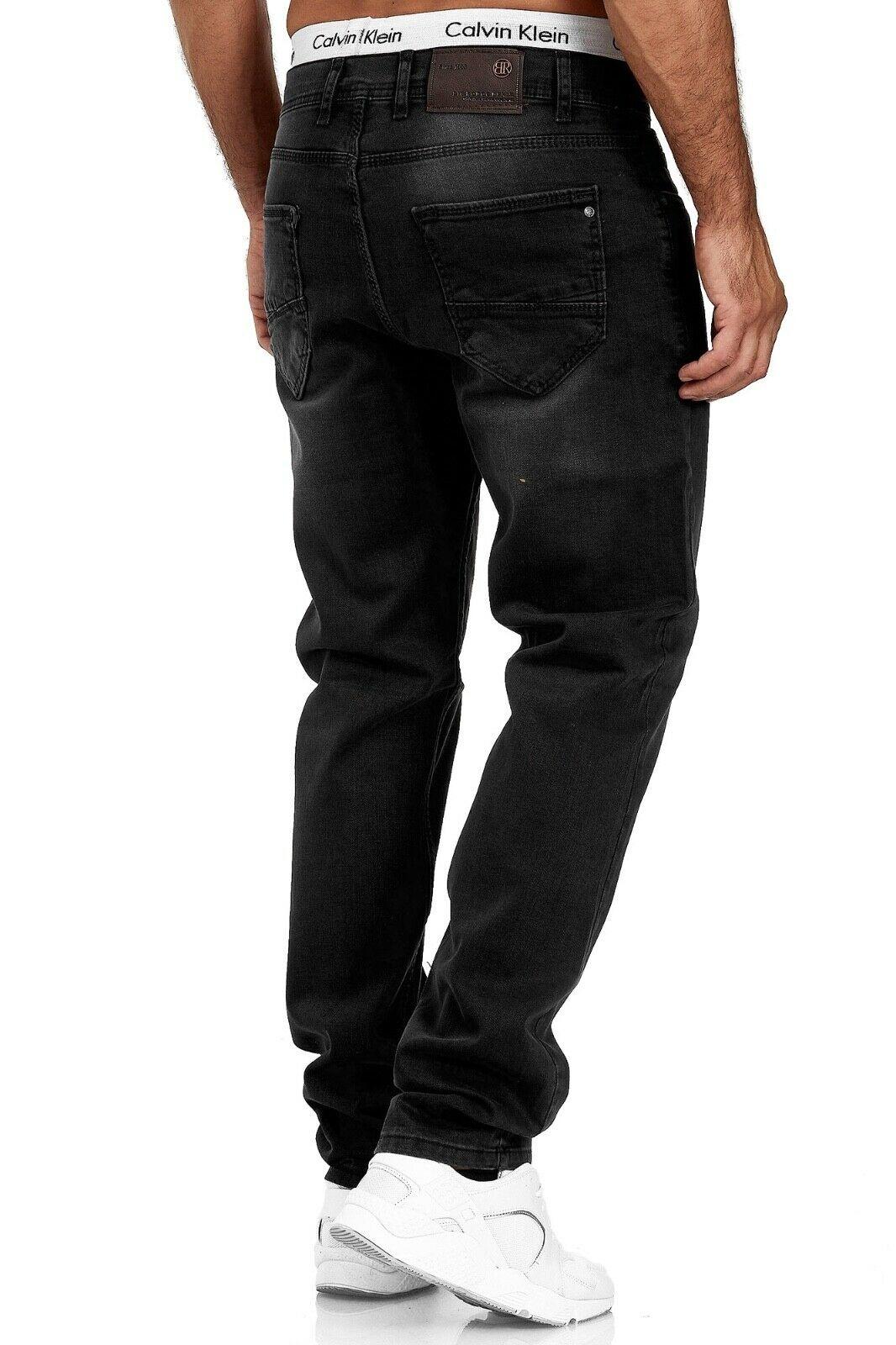 Herren-Jeans-Hose-Denim-KC-Black-Washed-Straight-Cut-Regular-Dicke-Naht-naehte Indexbild 54