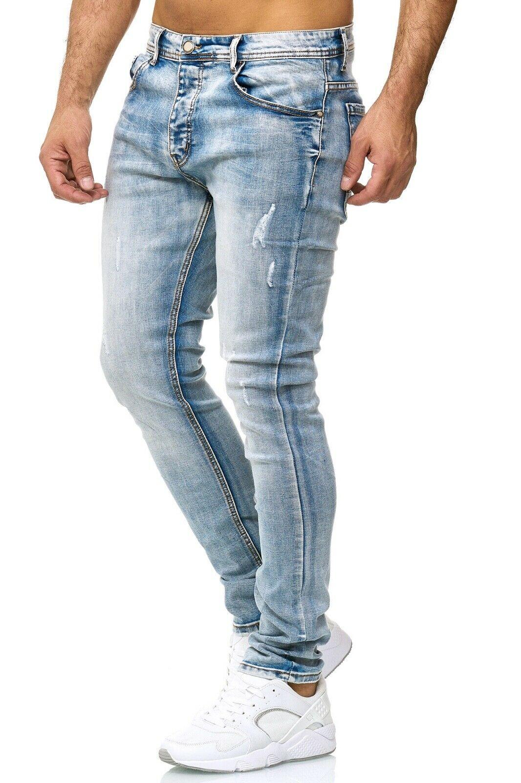 Herren-Jeanshosen-Stretch-Hose-Slim-fit-SKINNY-Jeans-Blau-Schwarz-Grau-Weiss Indexbild 61