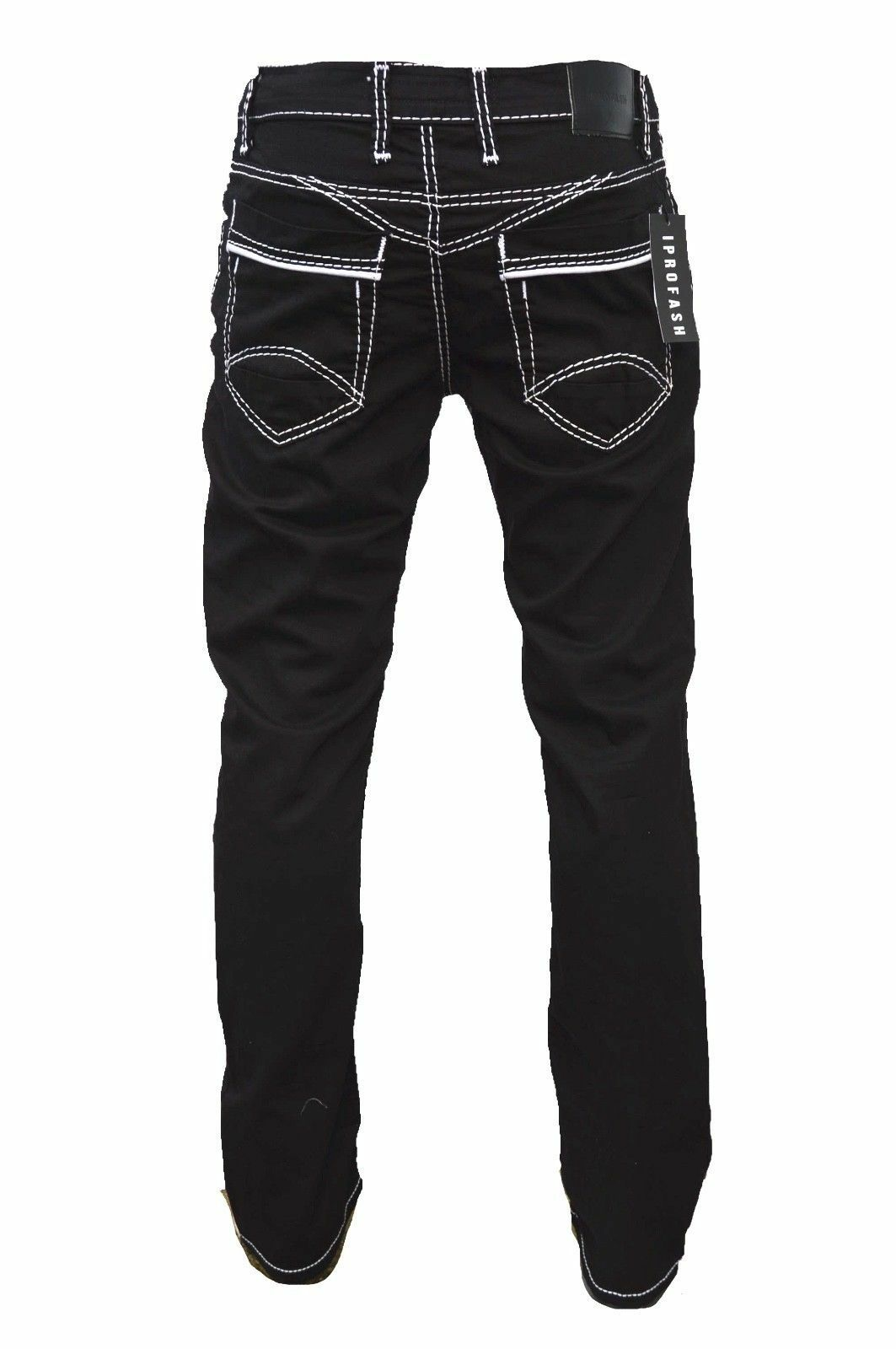 Herren-Jeans-Hose-Denim-KC-Black-Washed-Straight-Cut-Regular-Dicke-Naht-naehte Indexbild 10