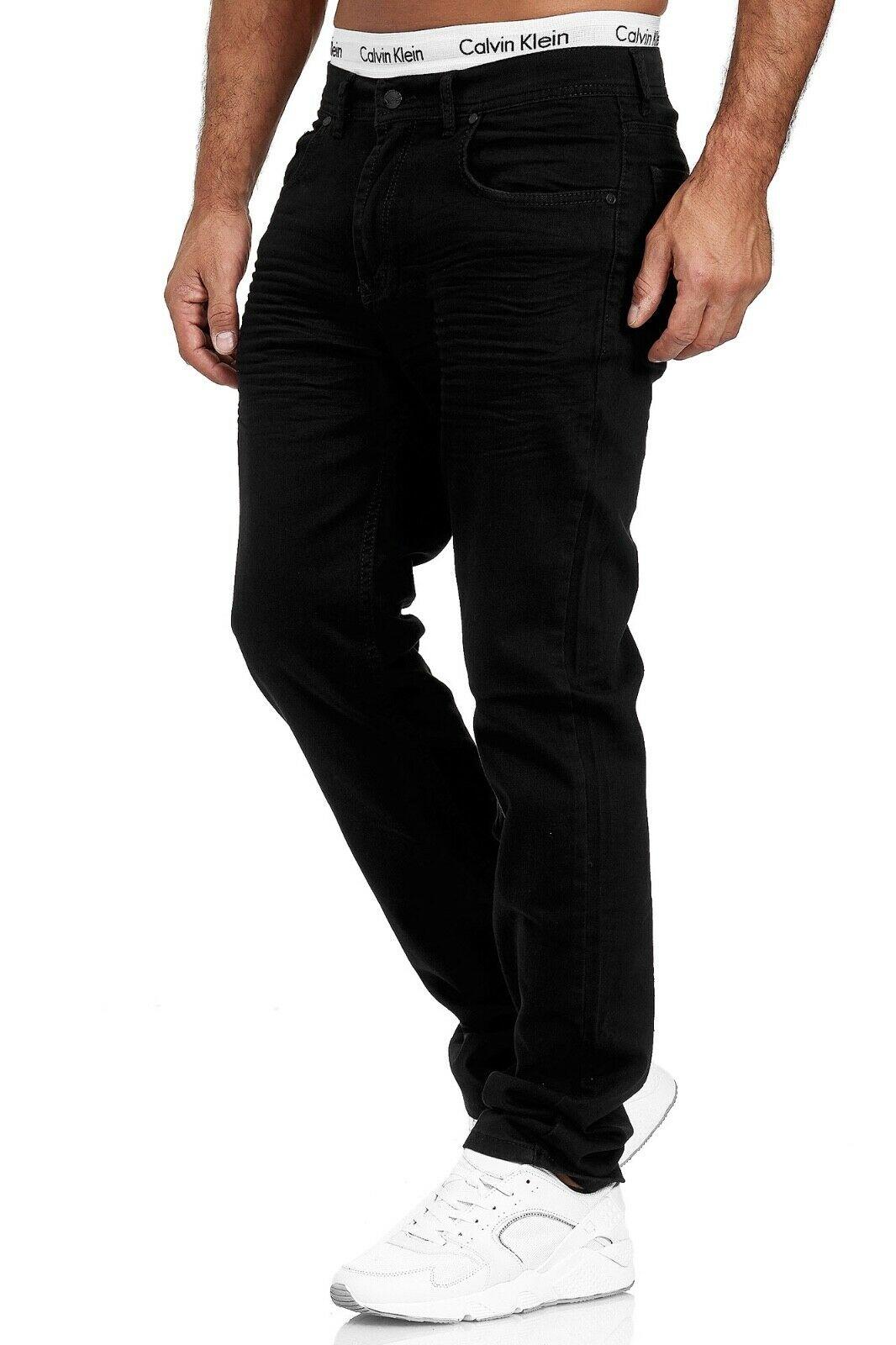 Herren-Jeans-Hose-Denim-KC-Black-Washed-Straight-Cut-Regular-Dicke-Naht-naehte Indexbild 77
