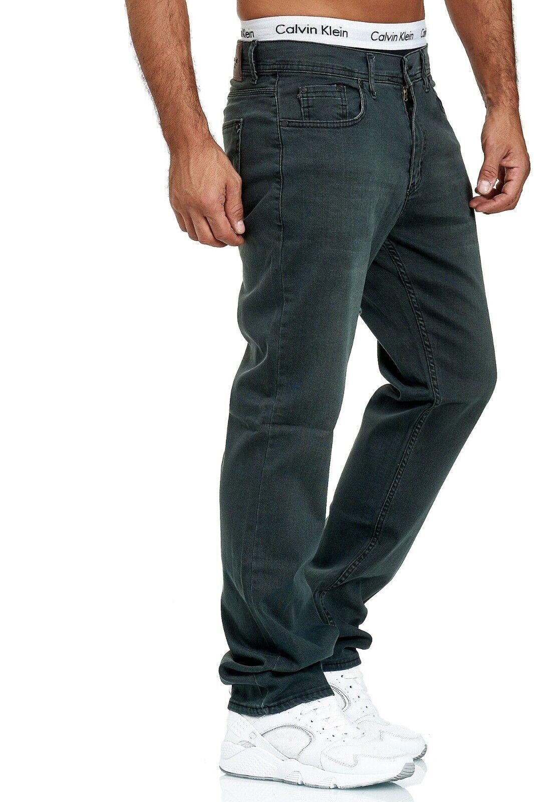 Herren-Jeans-Hose-Denim-KC-Black-Washed-Straight-Cut-Regular-Dicke-Naht-naehte Indexbild 48