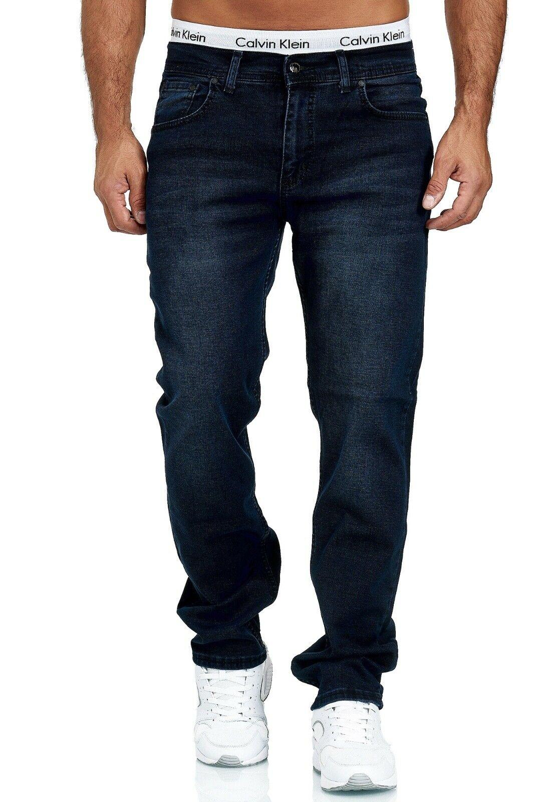 Herren-Jeans-Hose-Denim-KC-Black-Washed-Straight-Cut-Regular-Dicke-Naht-naehte Indexbild 86