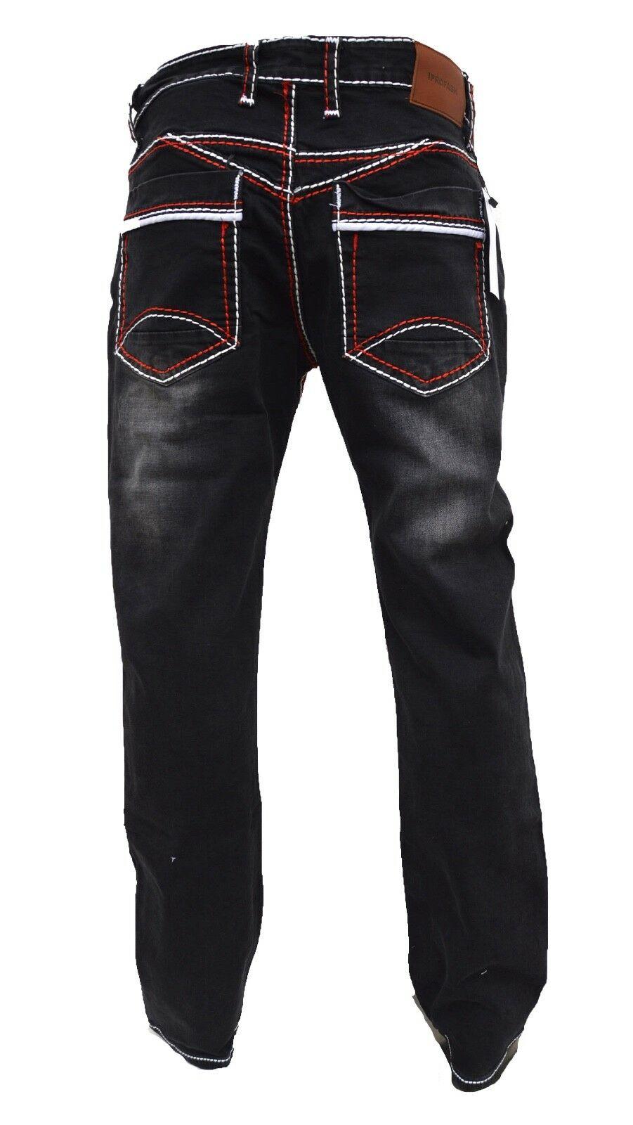 Herren-Jeans-Hose-Denim-KC-Black-Washed-Straight-Cut-Regular-Dicke-Naht-naehte Indexbild 19