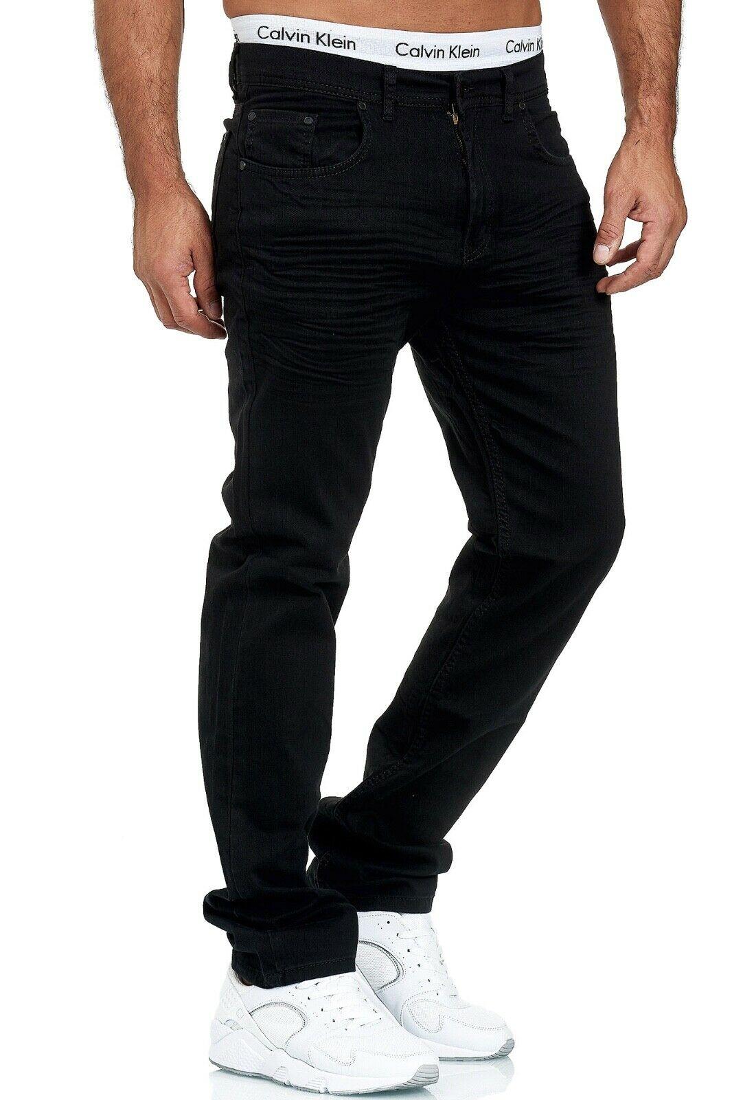Herren-Jeans-Hose-Denim-KC-Black-Washed-Straight-Cut-Regular-Dicke-Naht-naehte Indexbild 78