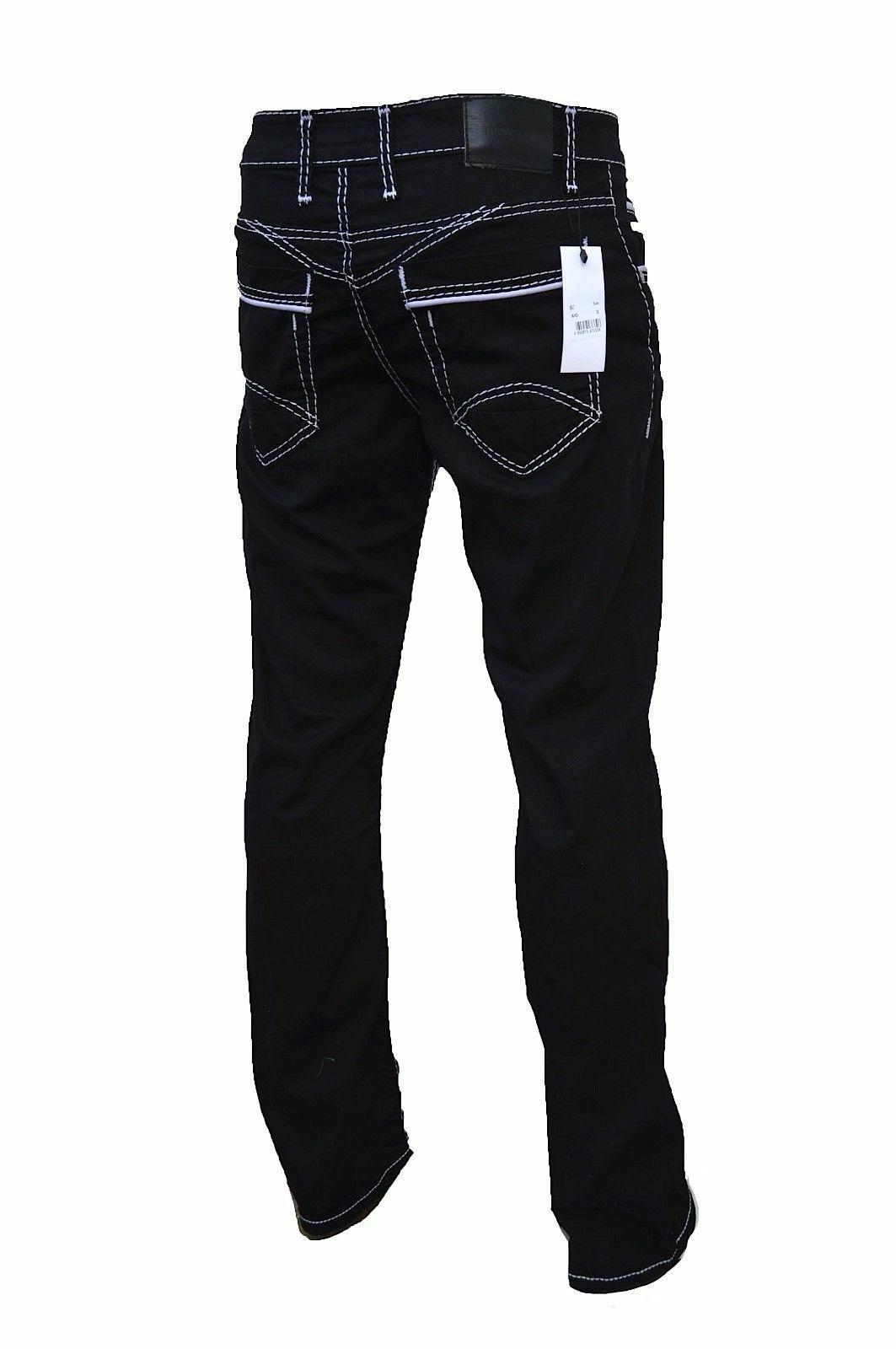 Herren-Jeans-Hose-Denim-KC-Black-Washed-Straight-Cut-Regular-Dicke-Naht-naehte Indexbild 14