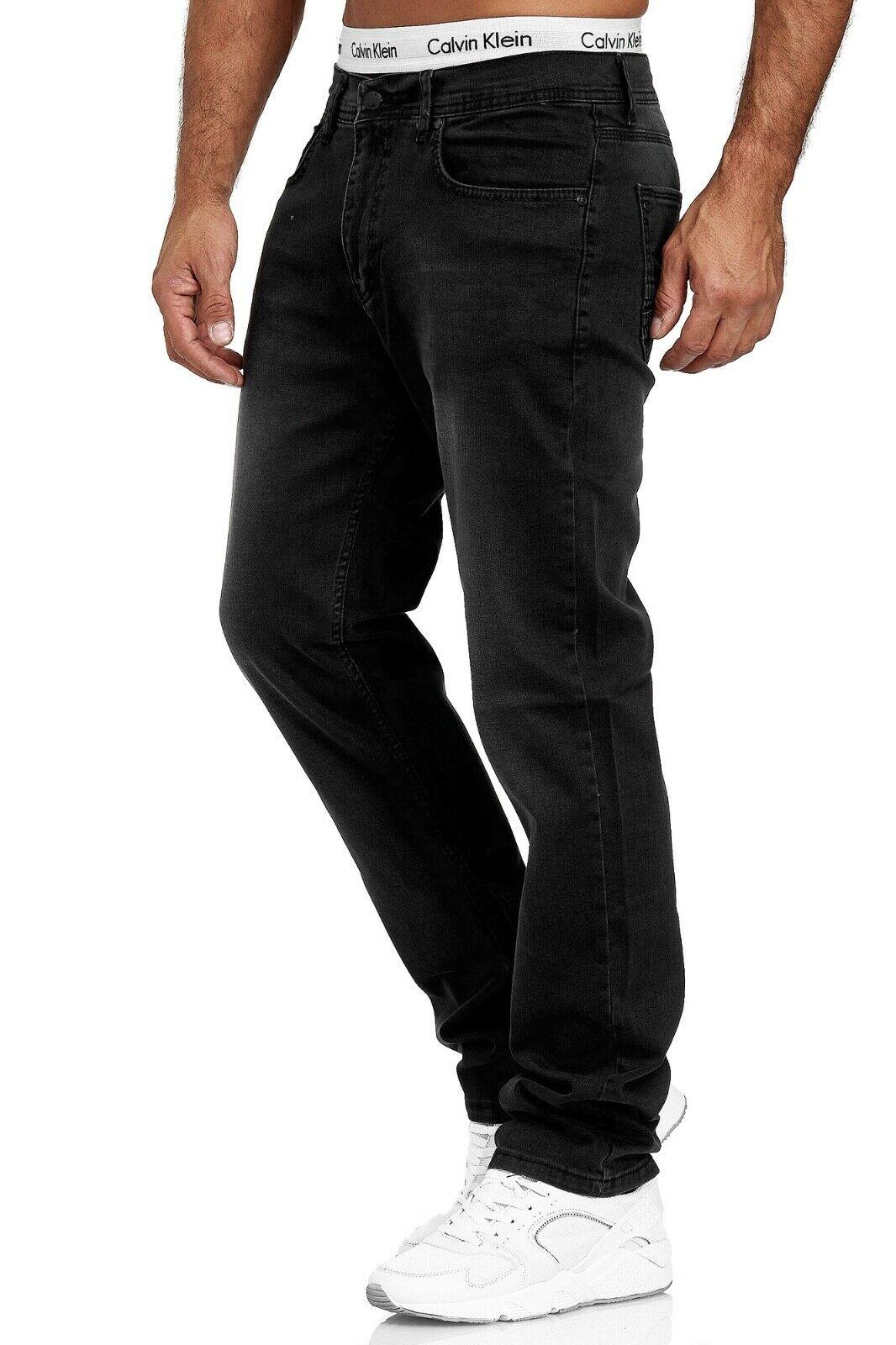 Herren-Jeans-Hose-Denim-KC-Black-Washed-Straight-Cut-Regular-Dicke-Naht-naehte Indexbild 52