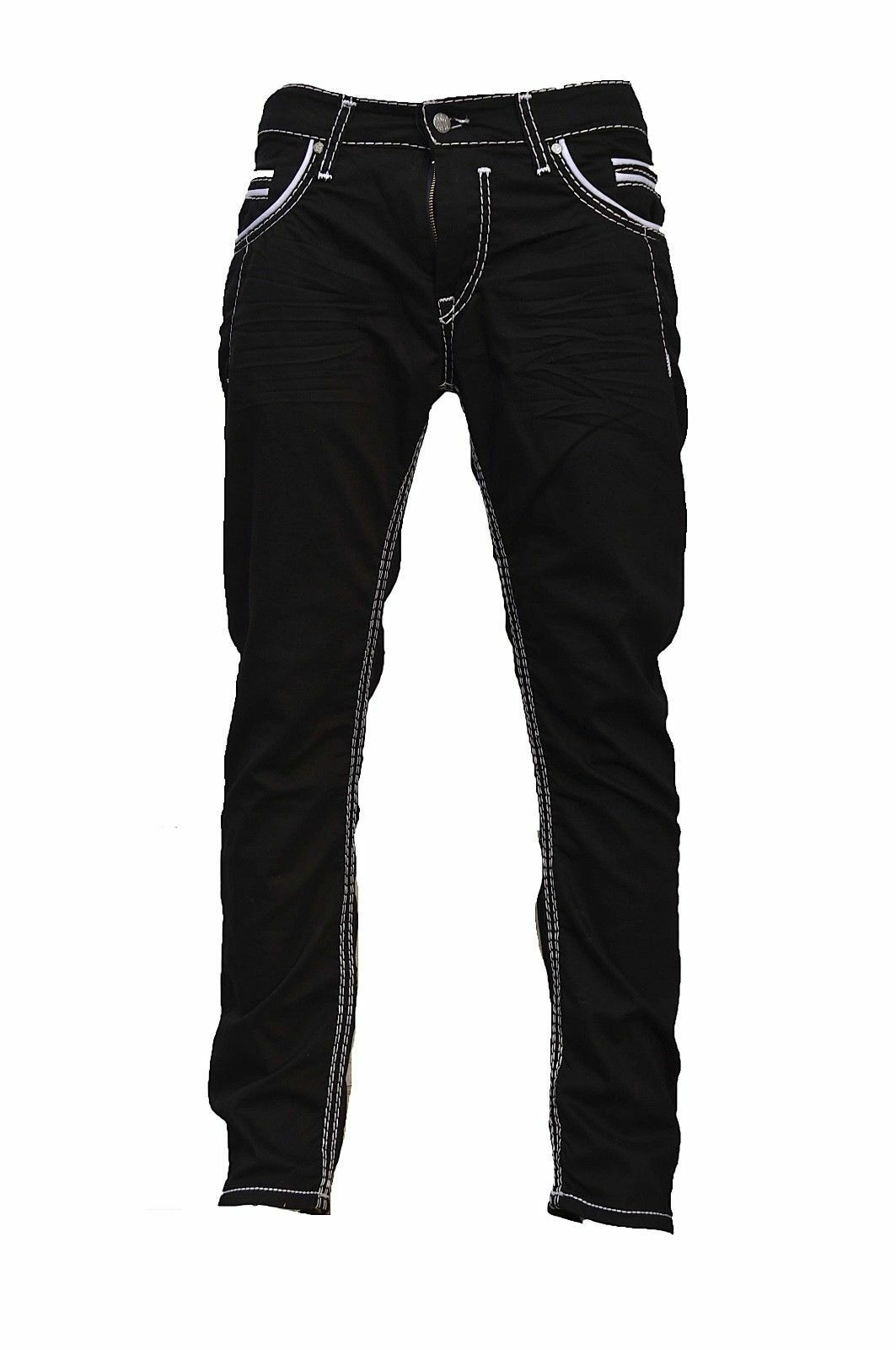 Herren-Jeans-Hose-Denim-KC-Black-Washed-Straight-Cut-Regular-Dicke-Naht-naehte Indexbild 12