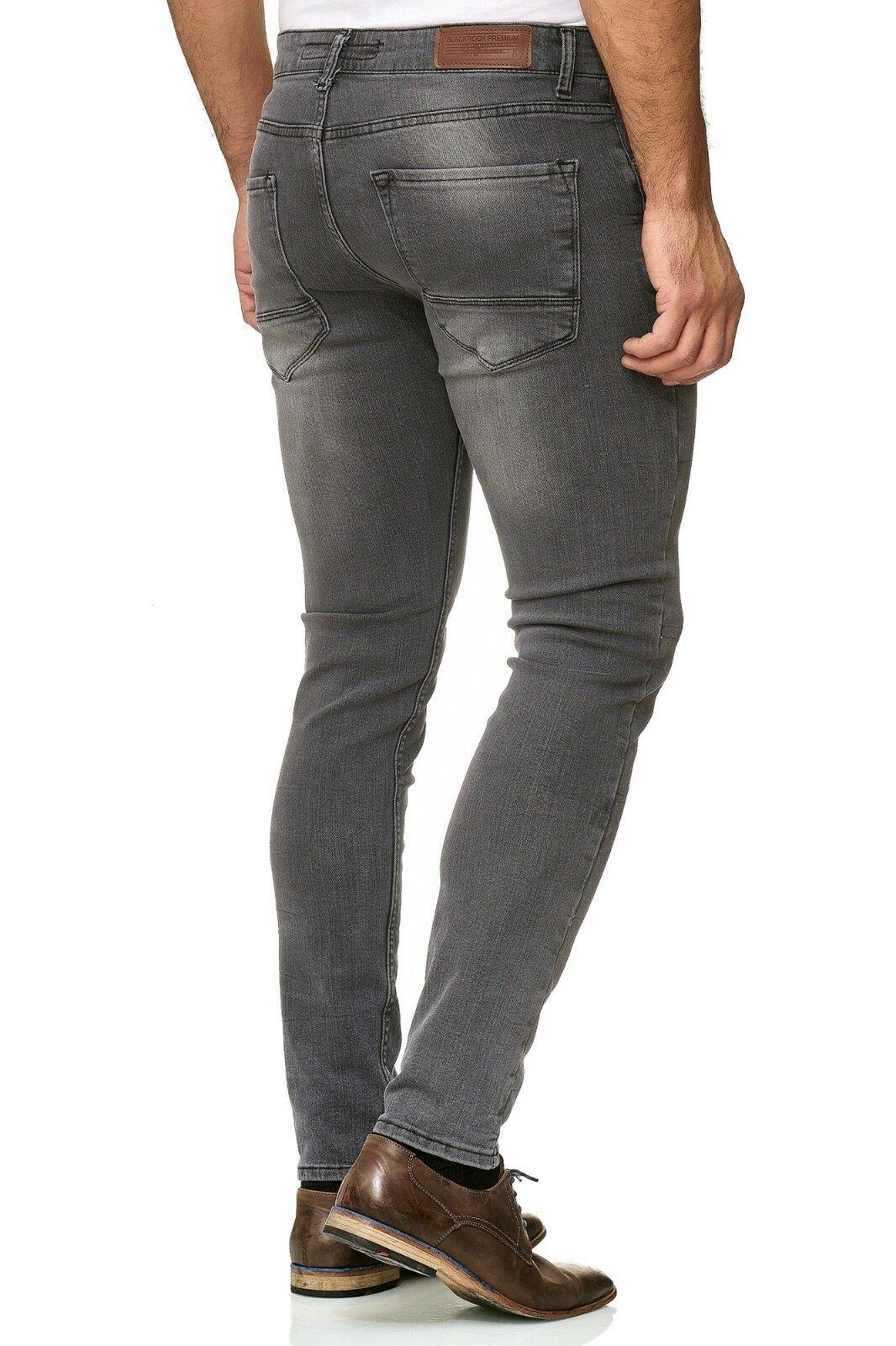 Herren-Jeanshosen-Stretch-Hose-Slim-fit-SKINNY-Jeans-Blau-Schwarz-Grau-Weiss Indexbild 35