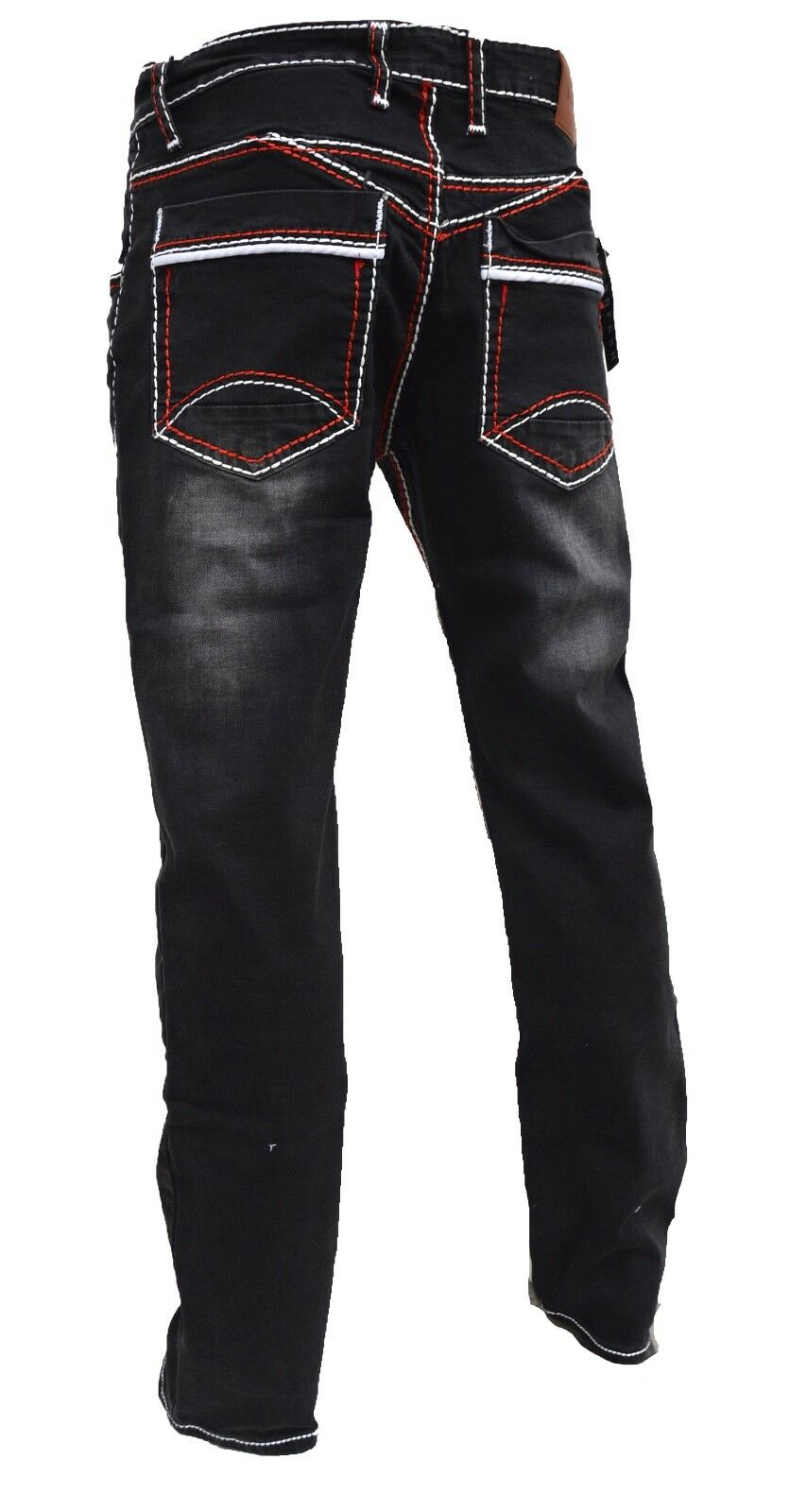 Herren-Jeans-Hose-Denim-KC-Black-Washed-Straight-Cut-Regular-Dicke-Naht-naehte Indexbild 16