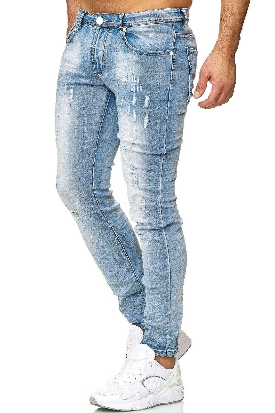 Herren-Jeanshosen-Stretch-Hose-Slim-fit-SKINNY-Jeans-Blau-Schwarz-Grau-Weiss Indexbild 29