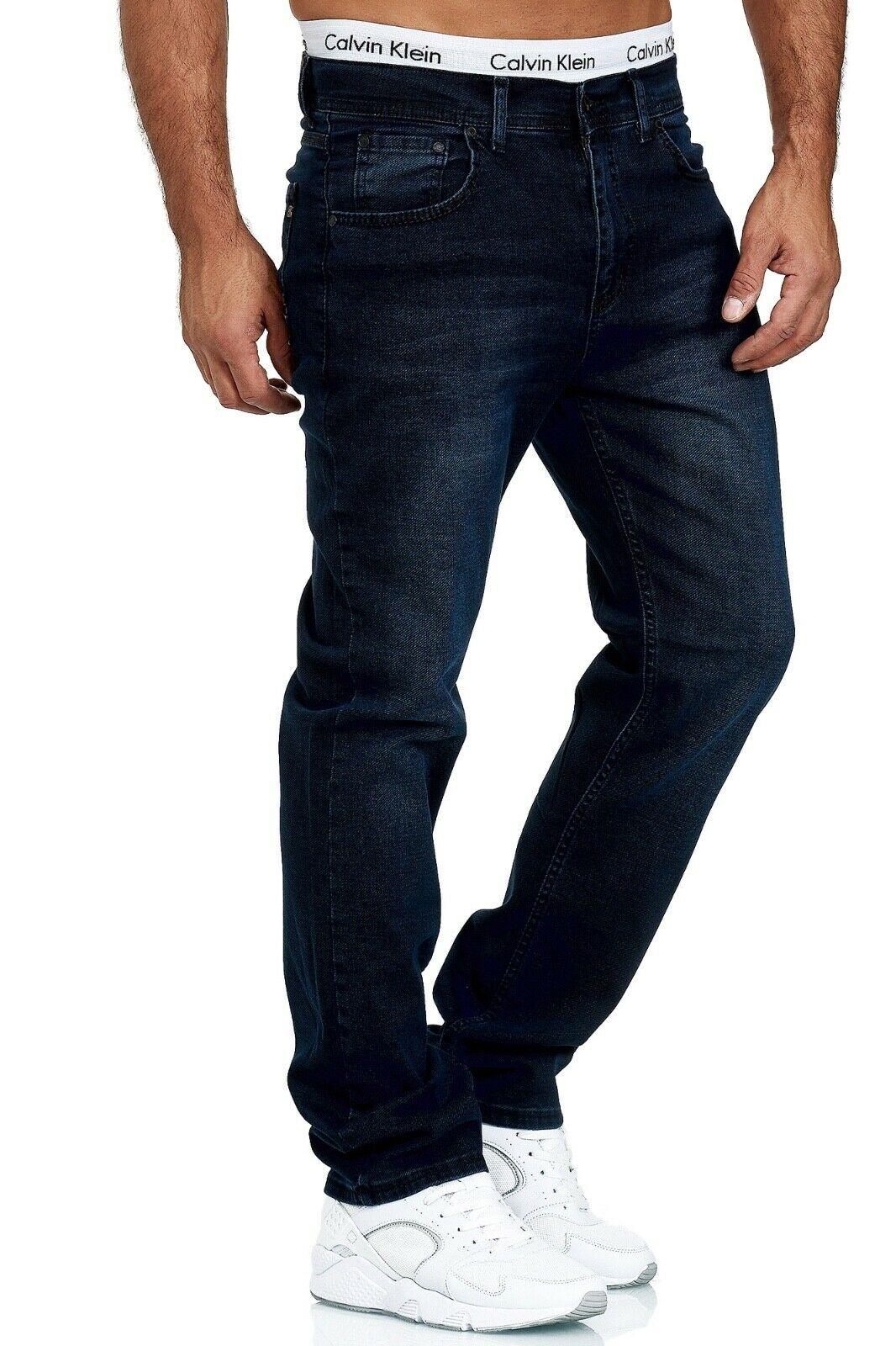 Herren-Jeans-Hose-Denim-KC-Black-Washed-Straight-Cut-Regular-Dicke-Naht-naehte Indexbild 88