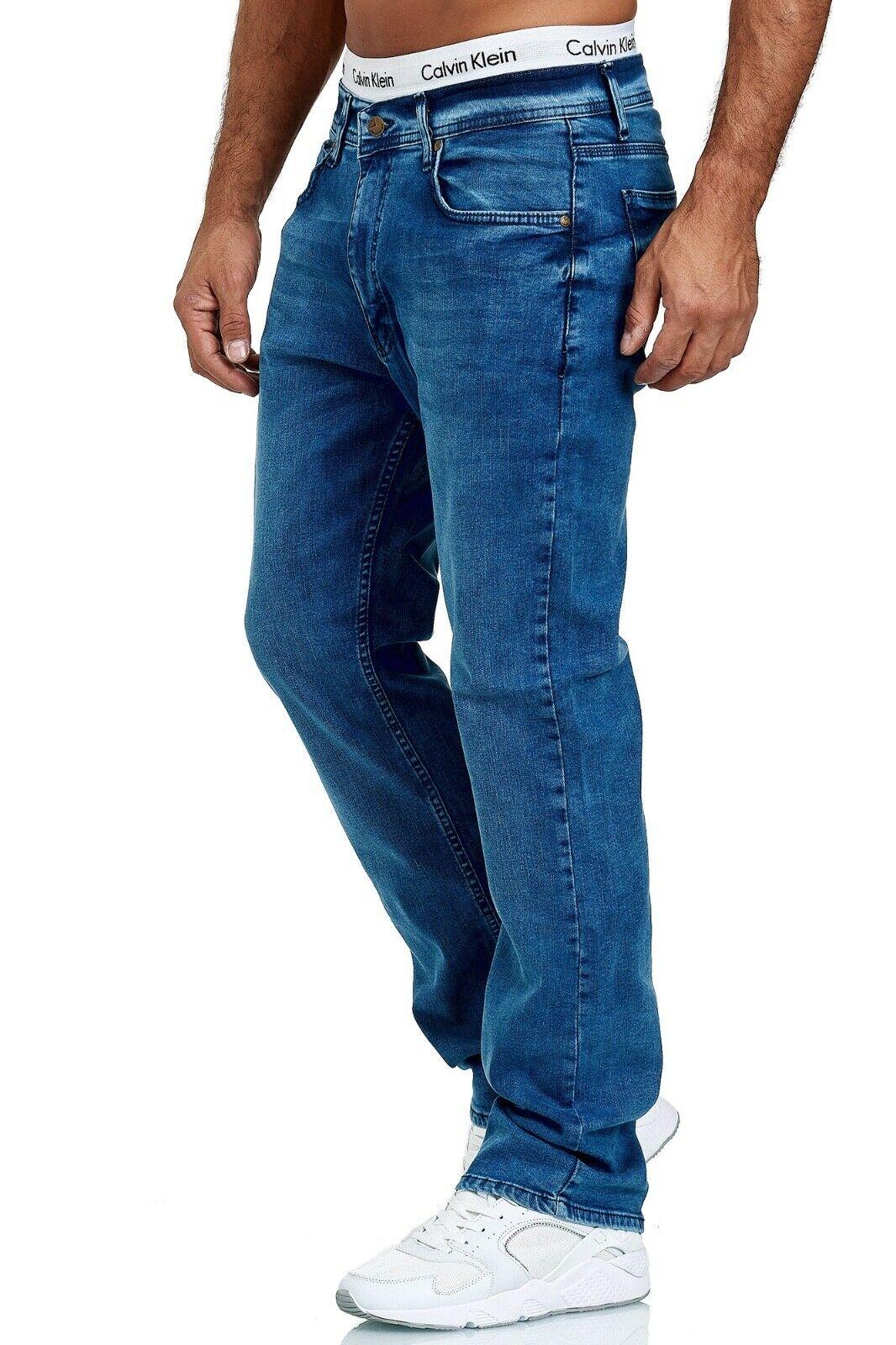 Herren-Jeans-Hose-Denim-KC-Black-Washed-Straight-Cut-Regular-Dicke-Naht-naehte Indexbild 62