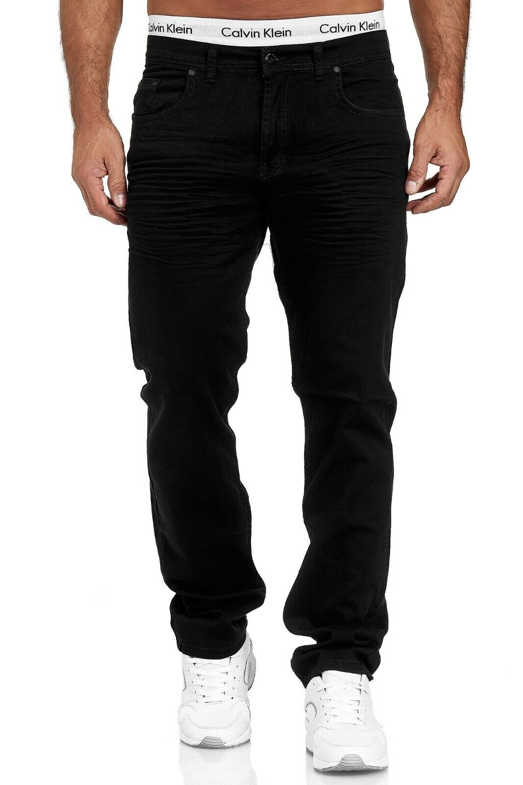 Herren-Jeans-Hose-Denim-KC-Black-Washed-Straight-Cut-Regular-Dicke-Naht-naehte Indexbild 76