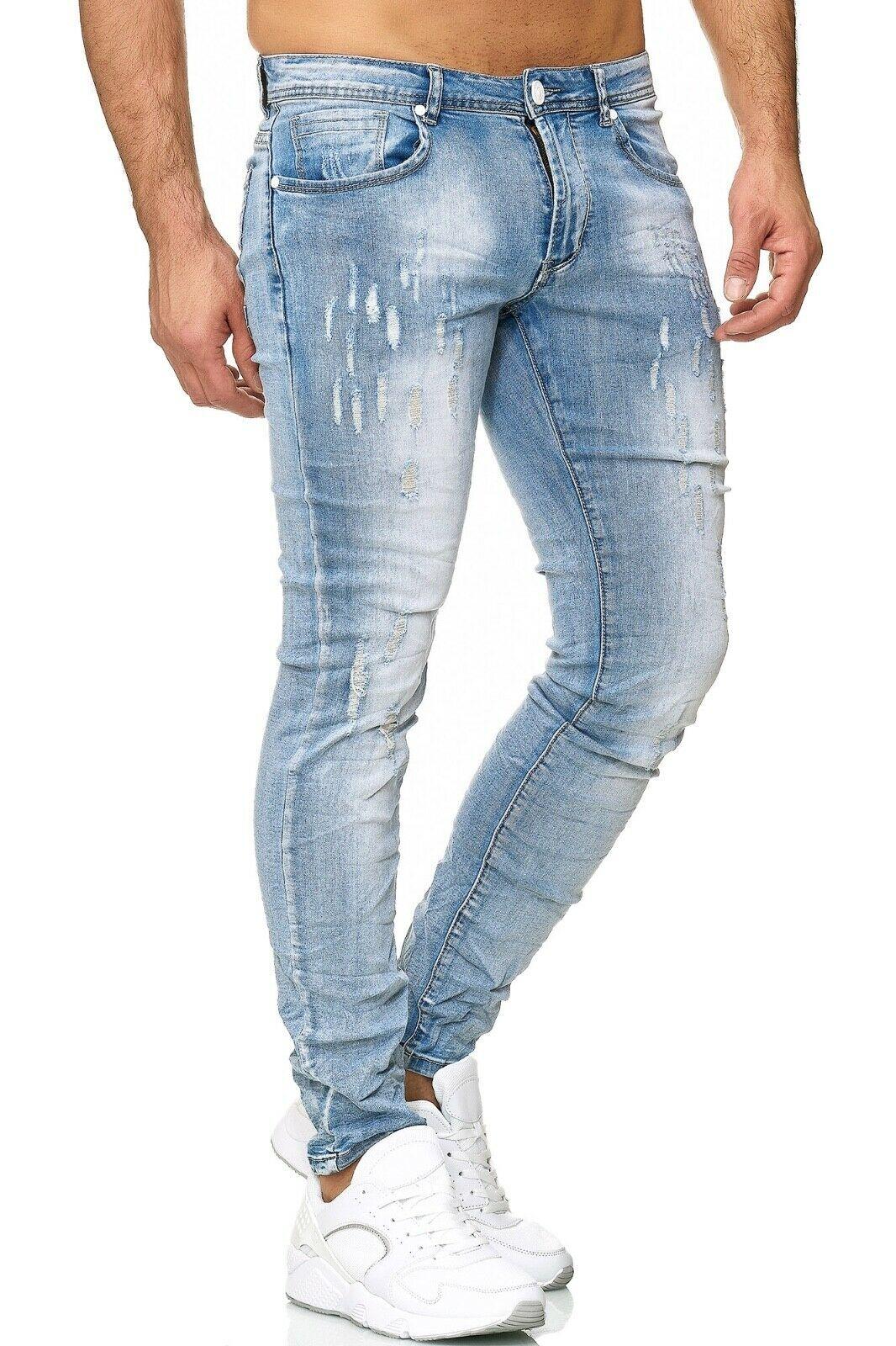 Herren-Jeanshosen-Stretch-Hose-Slim-fit-SKINNY-Jeans-Blau-Schwarz-Grau-Weiss Indexbild 30