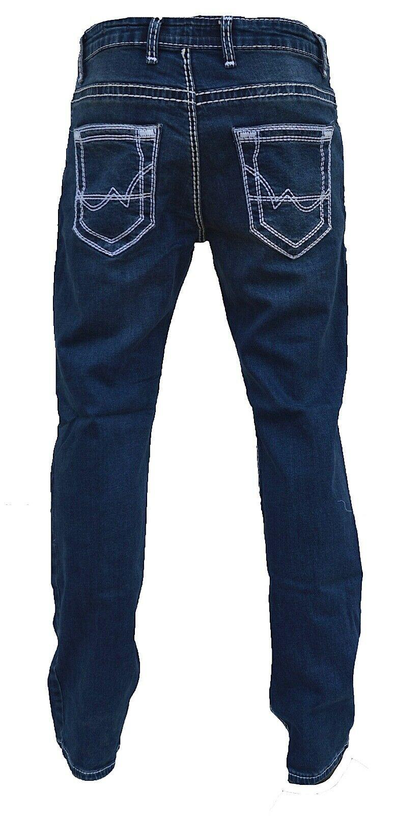 Herren-Jeans-Hose-Denim-KC-Black-Washed-Straight-Cut-Regular-Dicke-Naht-naehte Indexbild 23