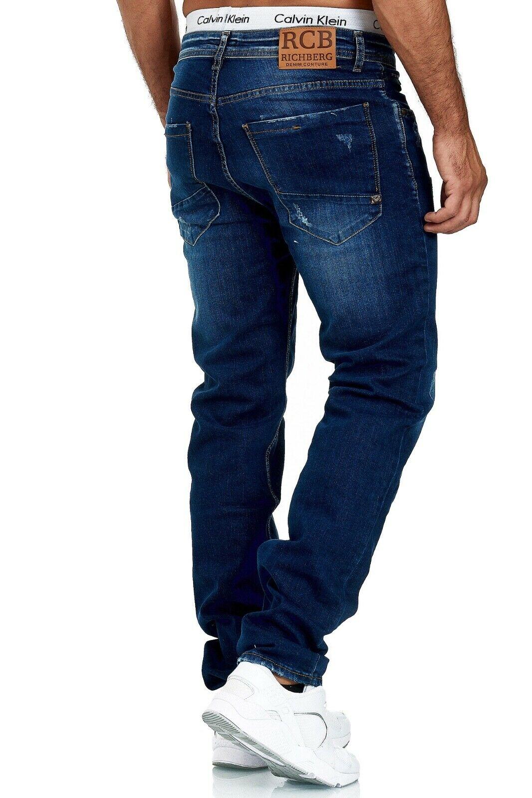 Herren-Jeans-Hose-Denim-KC-Black-Washed-Straight-Cut-Regular-Dicke-Naht-naehte Indexbild 59