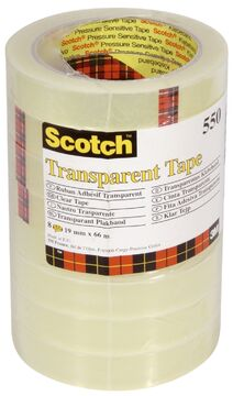 Polypropylenfolie, 19 mm x 66 m 8 Rollen transparent Scotch 5501966 Klebeband 550