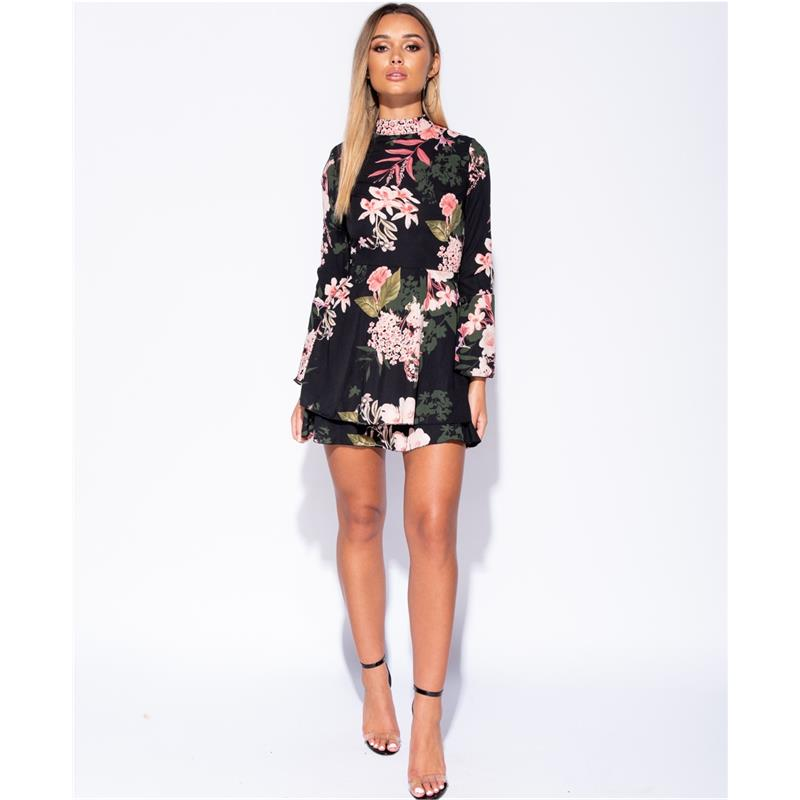 Hochgeschlossenes Chiffon Kleid kurz mit Blumen Schwarz # ...