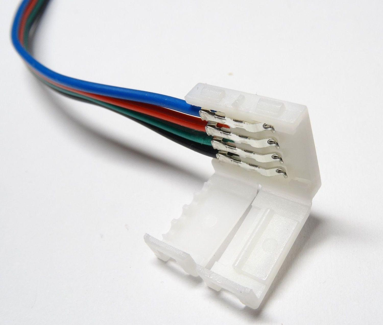 5x RGB SMD LED Strip Schnell Verbinder Kabel Adapter 4 Pin 10mm Deutsche Post