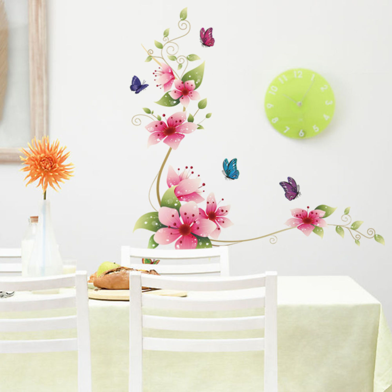 pf30 Wandtattoo Ranke Blume Blumenranken  Schmetterlinge wandfolie wandsticke