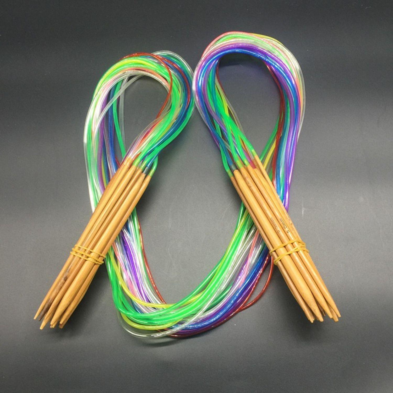 11 Pièce De Métal tricot aiguille Rundstrick Aiguille Set 1.5mm-5mm Aiguilles Tricot 43 cm long