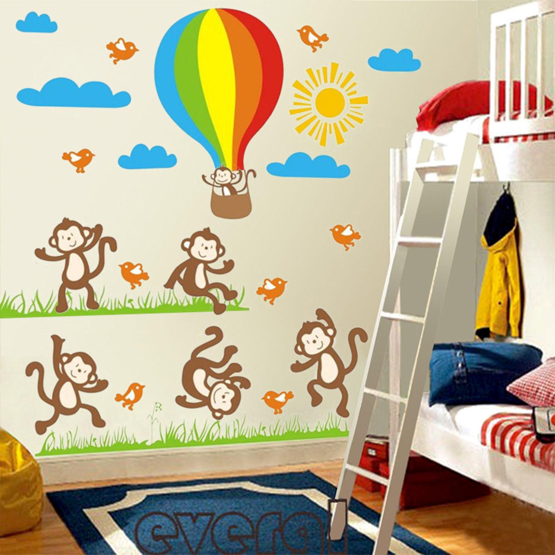 Affe ballon Wandsticker Wandtattoo Aufkleber Cartoon Wandaufkleber Sticker