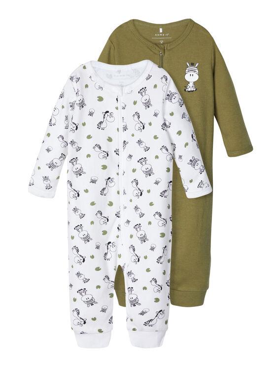 2-er Pack Baby Schlafanzug Reißverschluß Baumwolle Zebra Print Strampler Overall