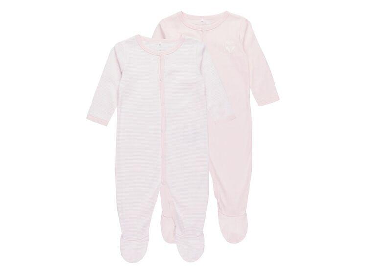 2er Set Name It NIGHTSUIT Schlafanzug Kinder Baby Mädchen Strampler Overall rose