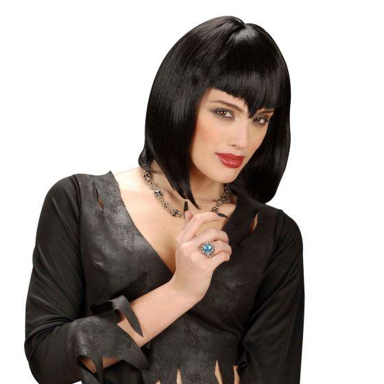 Gothic Vamp Perücke schwarz Perrücke Damenperücke