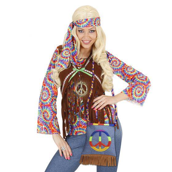 Hippie Tasche 70er Jahre Damentasche Peace Fransentasche Flower Power Handtasche
