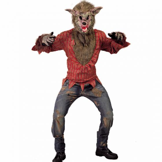 Licantropo MASK RED WOLF Spaventosa Costume Halloween Costume Lattice /& PELLICCIA HORROR