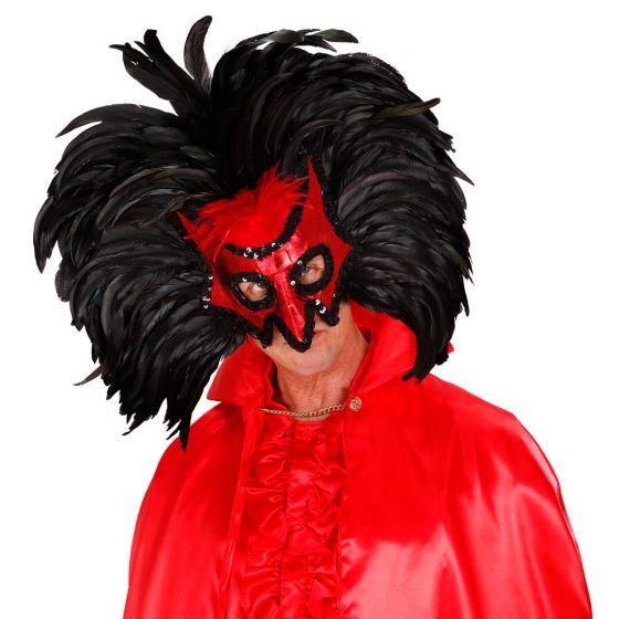 Venezianische Rio Maske Teufelsmaske Federmaske Karnevalsmaske rot-schwarz