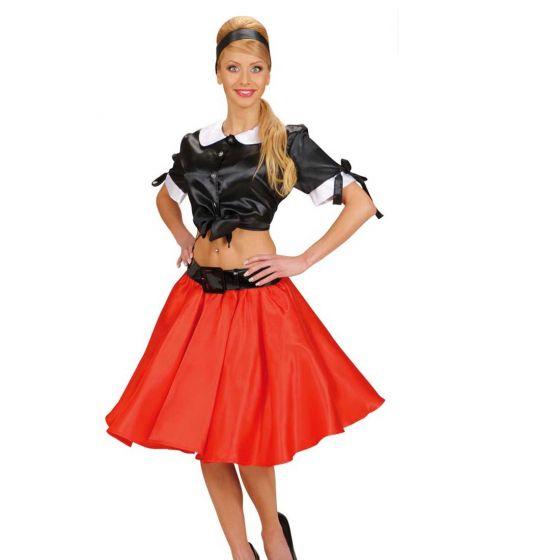 eb6194057a 50er Años Falda Ancha Enaguas Rojo Rock N Roll de Mujer Rockabilly ...