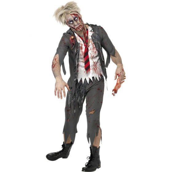 Zombiekostüm Schuljunge Halloweenkostüm Horror Zombie Kostüm grau-weiß M 48//50