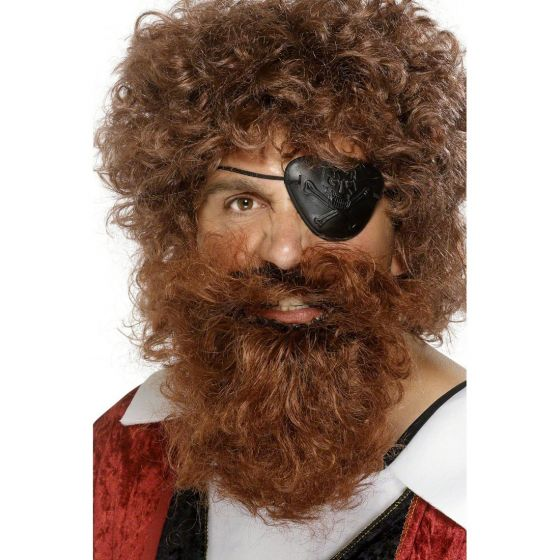 Piratenbart Bart Pirat Kunstbart Piraten Riesenbart Fasching Vollbart braun