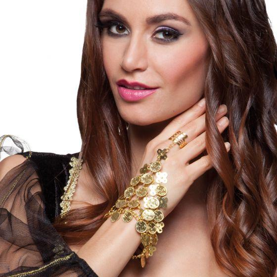 Bauchtanzerin Handschmuck Gold Orientalische Handkette Mit Ring