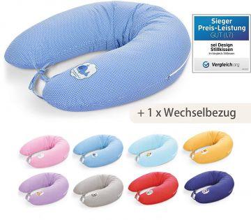 Stillkissen 170x30 Sei Design Ozeanblau-Babywahl Pünktchen EPS Perlen