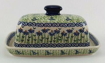 Blumen Bunzlauer Keramik Butterdose M077-MC15 für 250g Butter mit Griff