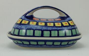 blau//weiß//grün//rot Bunzlauer Keramik Butterdose  für 250g Butter M077-P232