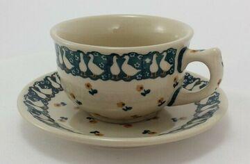 blau//weiß Bunzlauer Keramik Tasse mit Unterteller F036-J109 0,3Liter