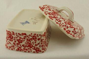 für 250g Butter Rosen Bunzlauer Keramik Butterdose M078-GZ32 Butterkästchen