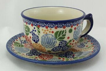 F036-54 blau//weiß 0,3Liter Bunzlauer Keramik Tasse mit Unterteller
