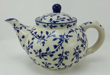 Bunzlauer Keramik Teekanne blau//weiß Kanne für 1,3Liter Tee C017-70M Blumen