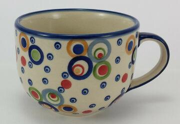 Milchcafe F044-AS55 Bunzlauer Keramik Tasse 0,45L UNIKAT modern, Cafe Latte