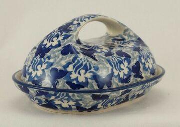 blau//weiß Bunzlauer Keramik Butterdose  für 250g Butter M077-70A