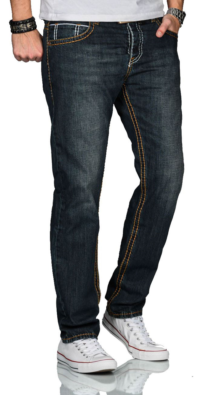 A-Salvarini-Herren-Jeans-Hose-dicke-Naehte-Jeanshose-Comfort-Fit-gerades-Bein Indexbild 4