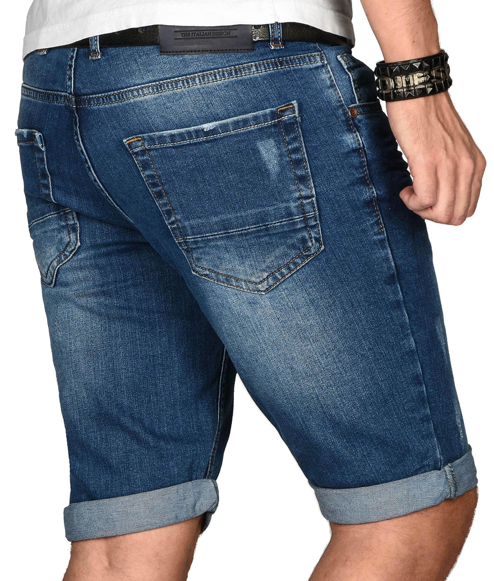 A-Salvarini-Herren-Designer-Jeans-Short-kurze-Hose-Slim-Sommer-Shorts-Bermuda Indexbild 22